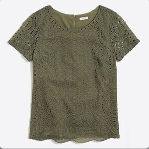 J. Crew Factory Lace Tee (Green) NWT